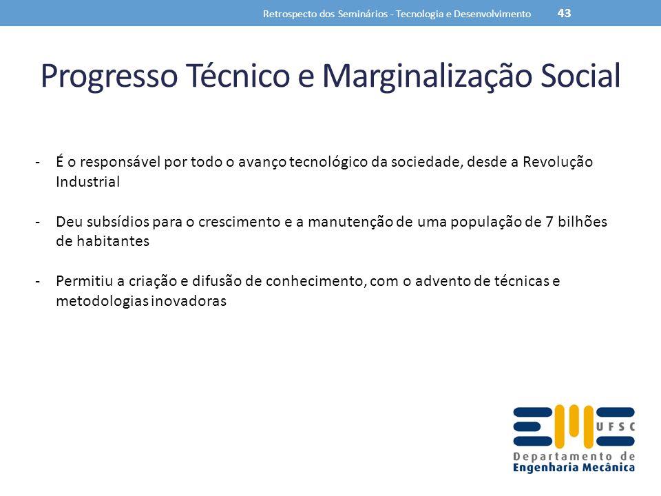 Progresso Técnico e Marginalização Social Retrospecto dos Seminários - Tecnologia e Desenvolvimento 43 -É o responsável por todo o avanço tecnológico