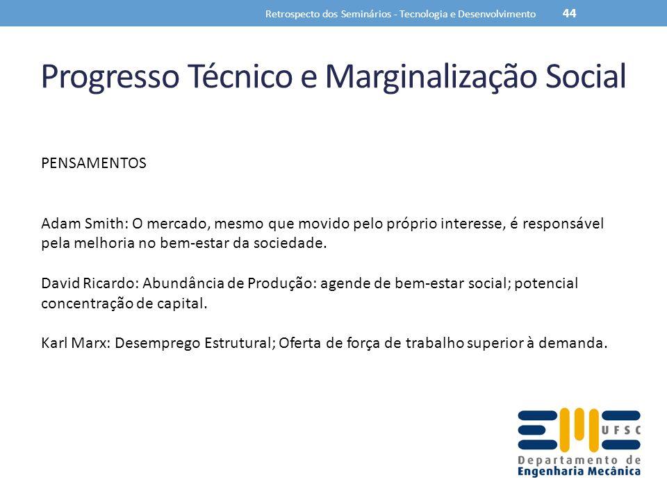 Progresso Técnico e Marginalização Social Retrospecto dos Seminários - Tecnologia e Desenvolvimento 44 PENSAMENTOS Adam Smith: O mercado, mesmo que mo