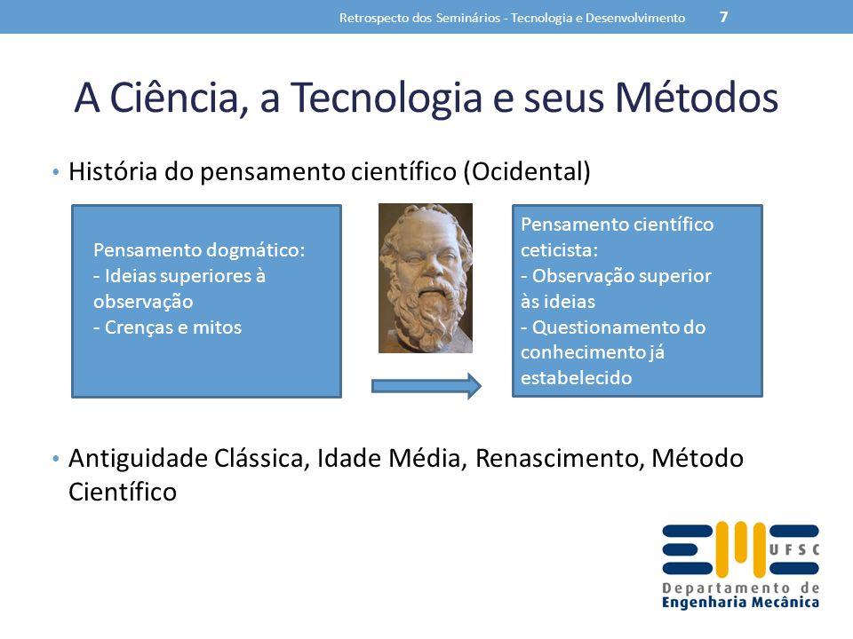 A Ciência, a Tecnologia e seus Métodos História do pensamento científico (Ocidental) Antiguidade Clássica, Idade Média, Renascimento, Método Científic