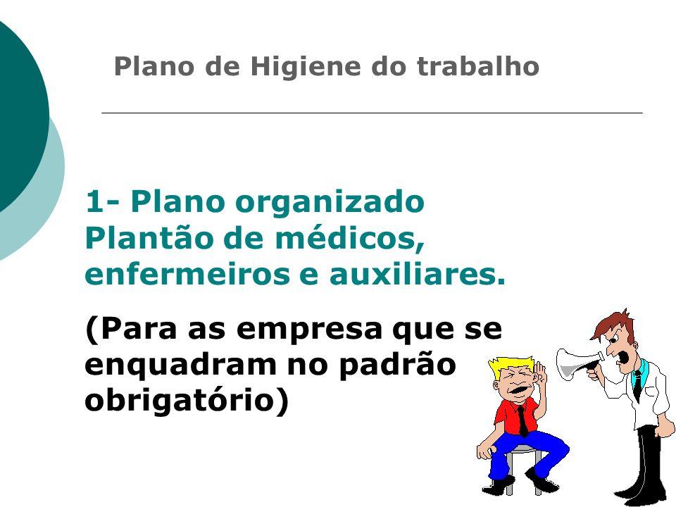 Plano de Higiene do trabalho 1- Plano organizado Plantão de médicos, enfermeiros e auxiliares. (Para as empresa que se enquadram no padrão obrigatório