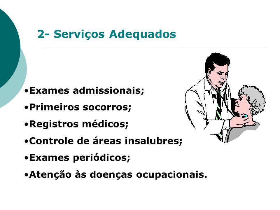 2- Serviços Adequados Exames admissionais; Primeiros socorros; Registros médicos; Controle de áreas insalubres; Exames periódicos; Atenção às doenças