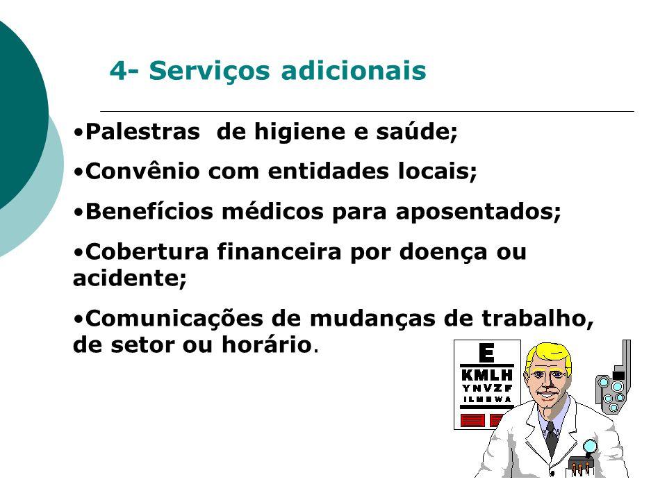 4- Serviços adicionais Palestras de higiene e saúde; Convênio com entidades locais; Benefícios médicos para aposentados; Cobertura financeira por doen
