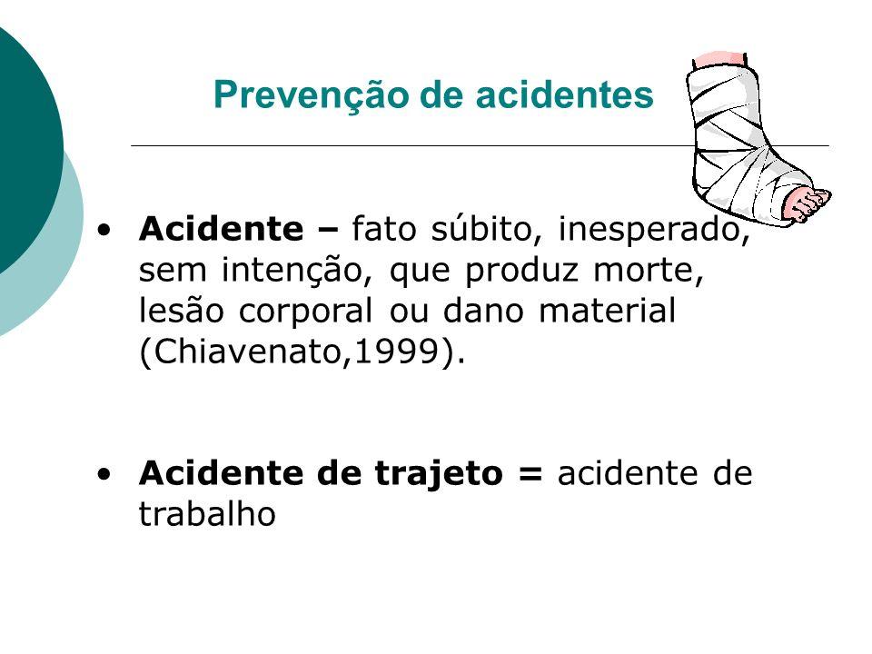 Prevenção de acidentes Acidente – fato súbito, inesperado, sem intenção, que produz morte, lesão corporal ou dano material (Chiavenato,1999). Acidente