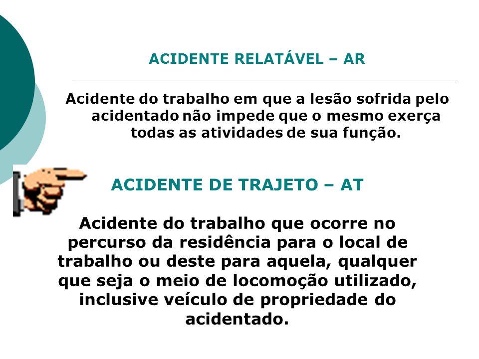 ACIDENTE RELATÁVEL – AR Acidente do trabalho em que a lesão sofrida pelo acidentado não impede que o mesmo exerça todas as atividades de sua função. A