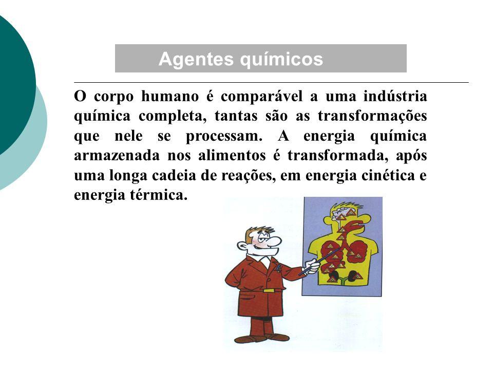 Agentes químicos O corpo humano é comparável a uma indústria química completa, tantas são as transformações que nele se processam. A energia química a