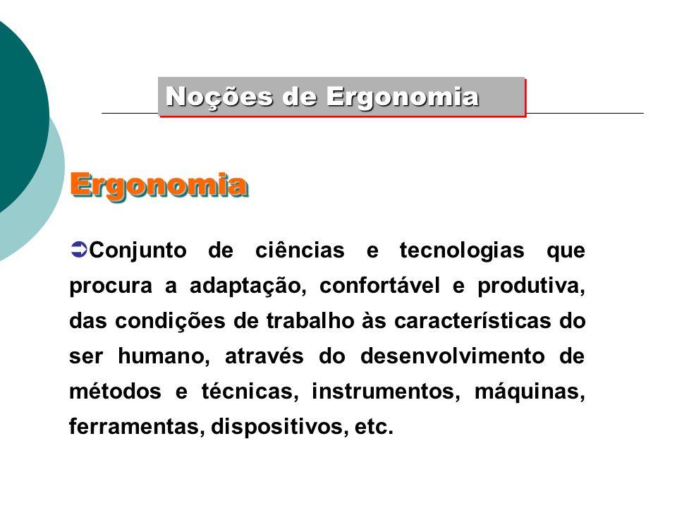 Noções de Ergonomia Conjunto de ciências e tecnologias que procura a adaptação, confortável e produtiva, das condições de trabalho às características