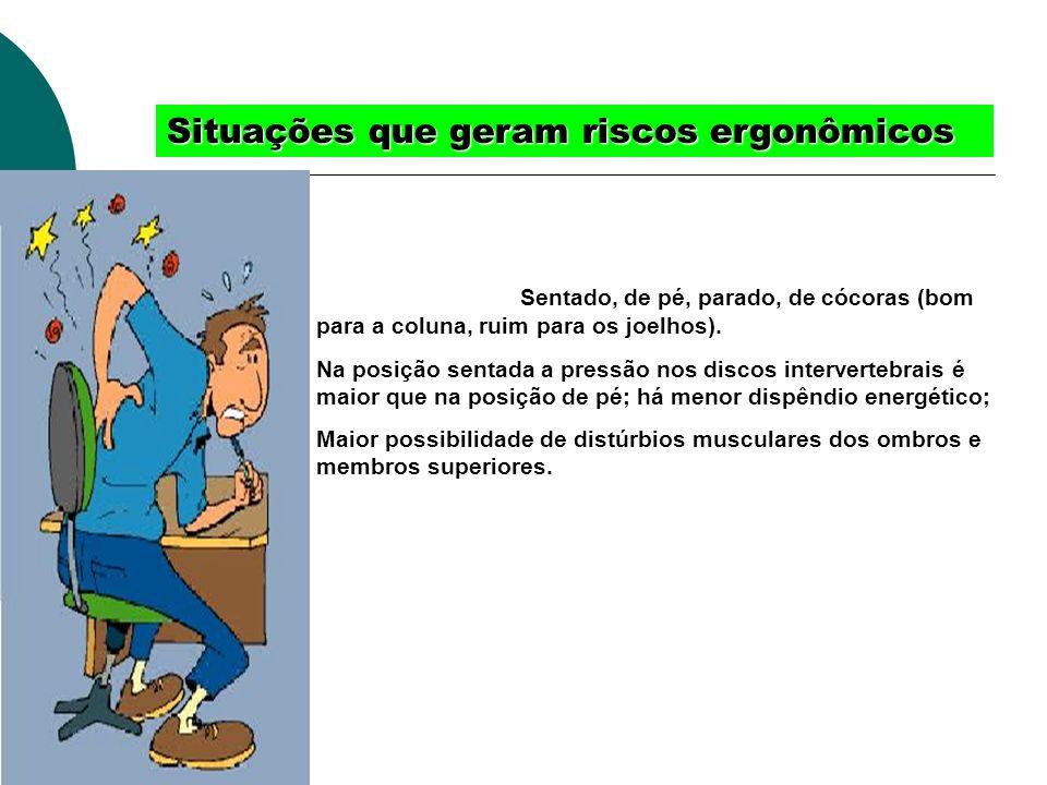Situações que geram riscos ergonômicos Trabalhs posiçõesSentado, de pé, parado, de cócoras (bom para a coluna, ruim para os joelhos). Na posição senta