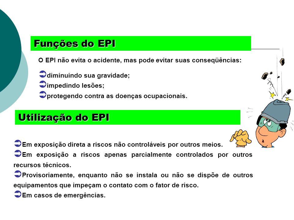 Funçõesdo EPI Funções do EPI O EPI não evita o acidente, mas pode evitar suas conseqüências: diminuindo sua gravidade; impedindo lesões; protegendo co