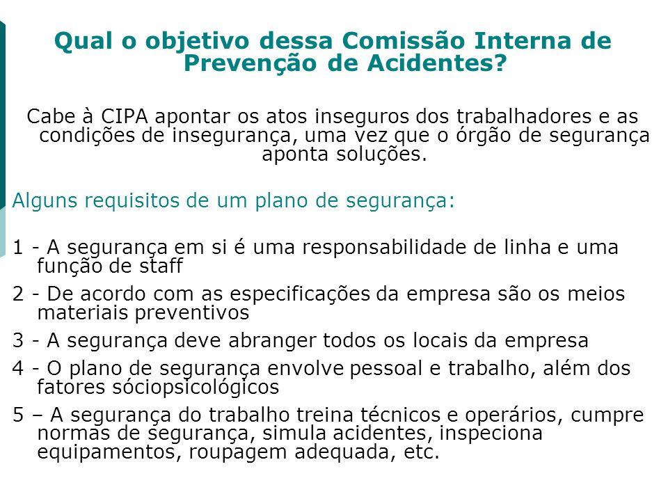 Qual o objetivo dessa Comissão Interna de Prevenção de Acidentes? Cabe à CIPA apontar os atos inseguros dos trabalhadores e as condições de inseguranç