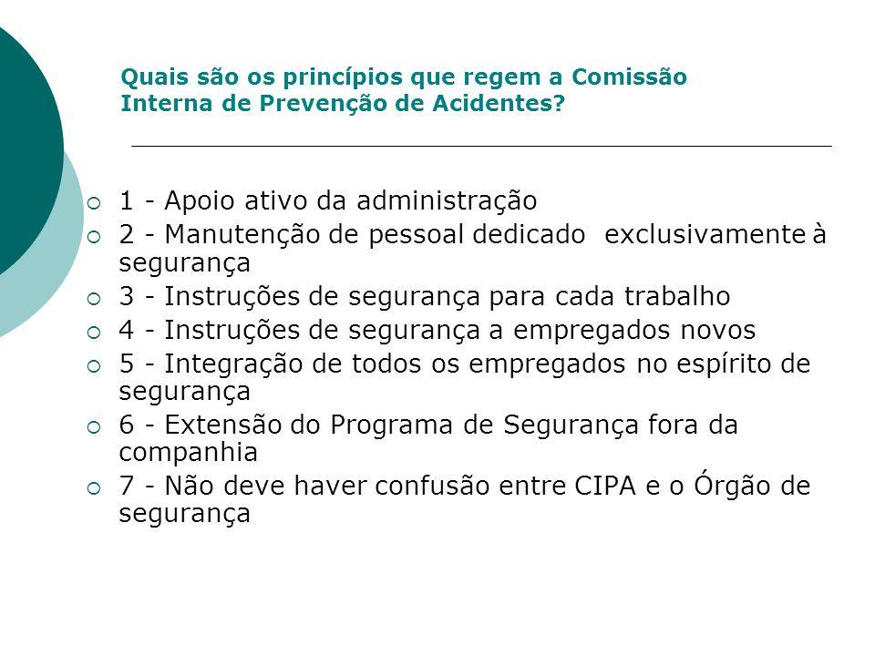 Quais são os princípios que regem a Comissão Interna de Prevenção de Acidentes? 1 - Apoio ativo da administração 2 - Manutenção de pessoal dedicado ex