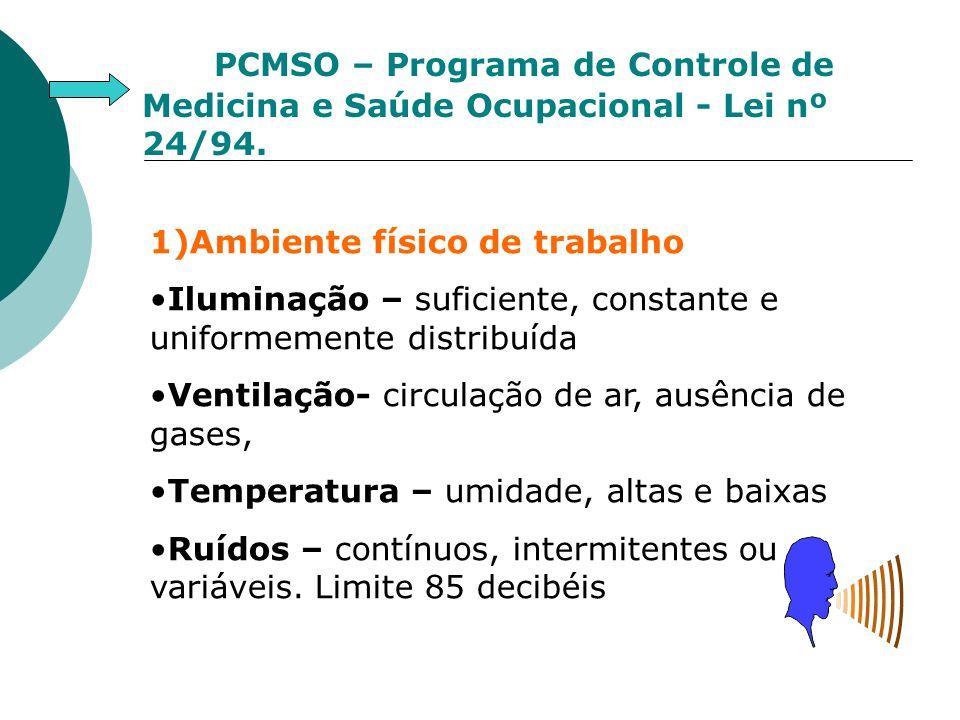 PCMSO – Programa de Controle de Medicina e Saúde Ocupacional - Lei nº 24/94. 1)Ambiente físico de trabalho Iluminação – suficiente, constante e unifor