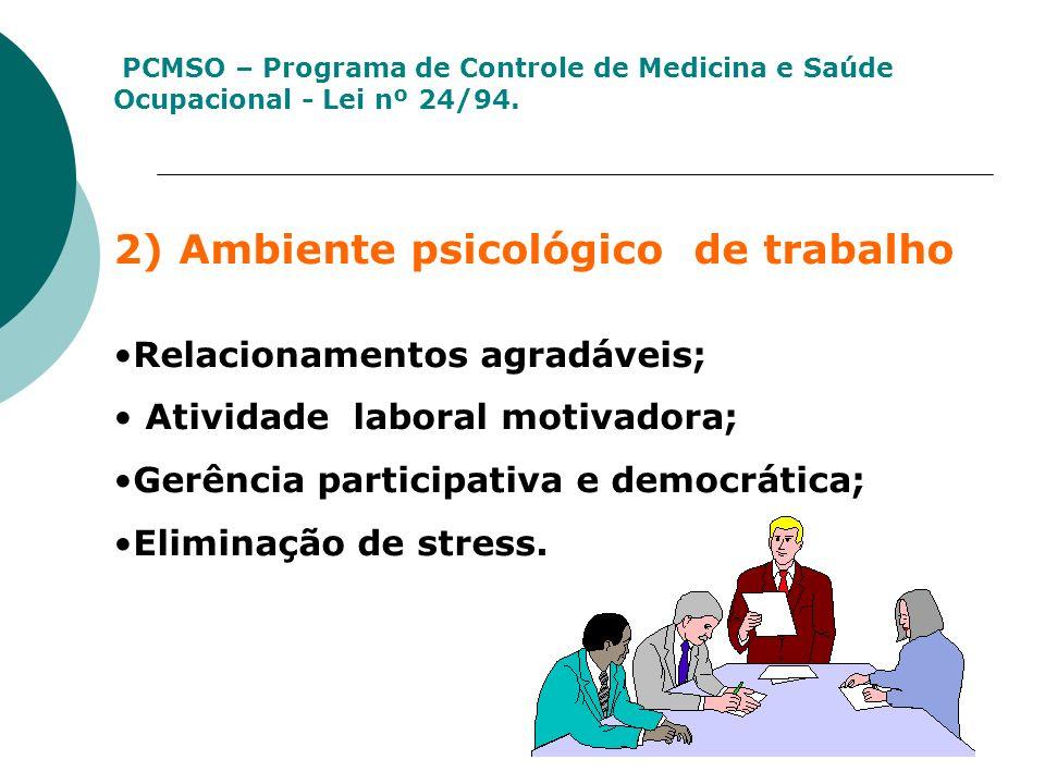 2) Ambiente psicológico de trabalho Relacionamentos agradáveis; Atividade laboral motivadora; Gerência participativa e democrática; Eliminação de stre