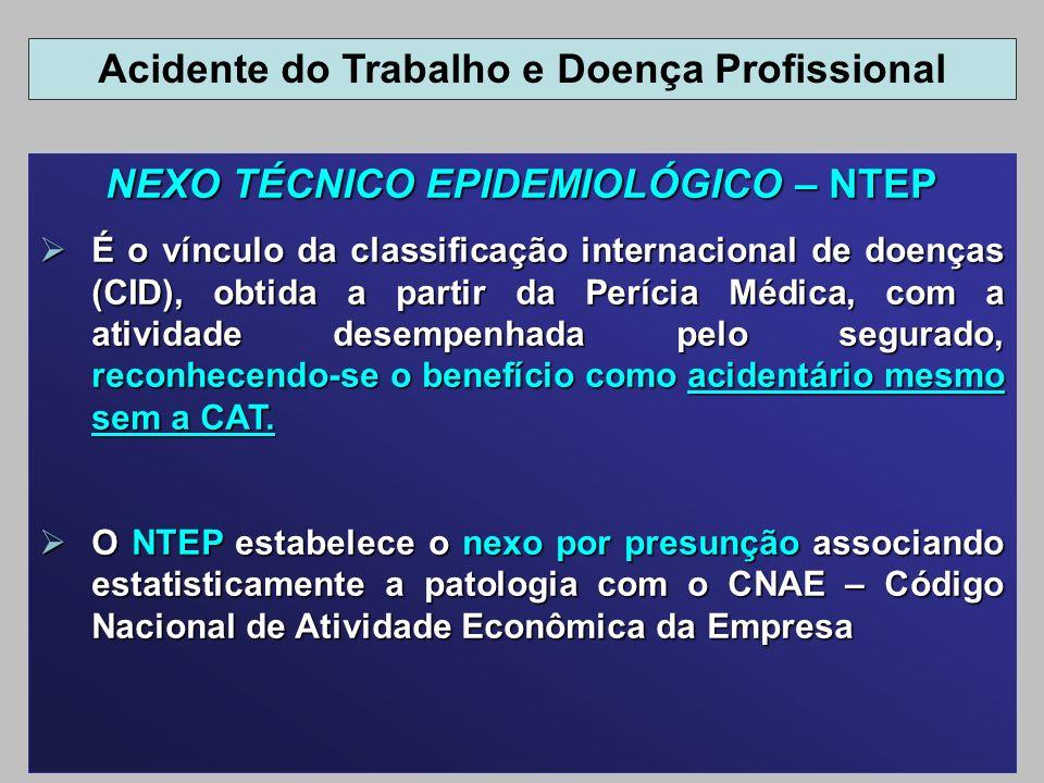 NEXO TÉCNICO EPIDEMIOLÓGICO – NTEP É o vínculo da classificação internacional de doenças (CID), obtida a partir da Perícia Médica, com a atividade des