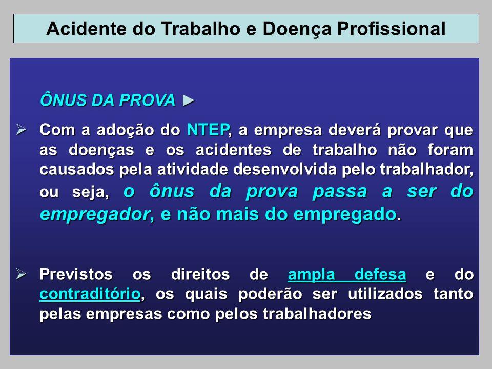 ÔNUS DA PROVA ÔNUS DA PROVA Com a adoção do NTEP, a empresa deverá provar que as doenças e os acidentes de trabalho não foram causados pela atividade