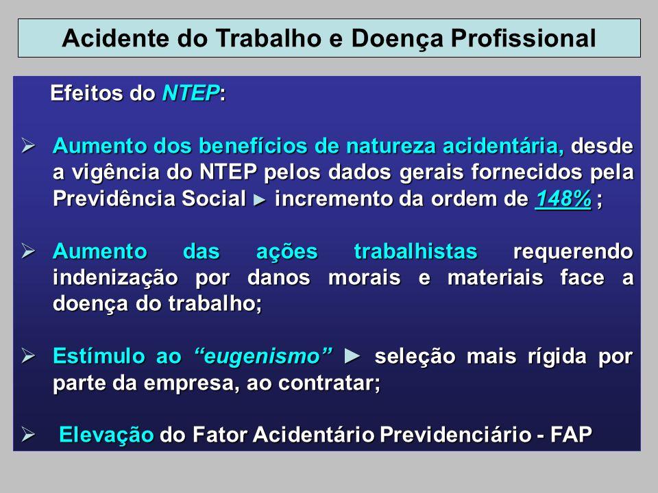 Efeitos do NTEP: Efeitos do NTEP: Aumento dos benefícios de natureza acidentária, desde a vigência do NTEP pelos dados gerais fornecidos pela Previdên