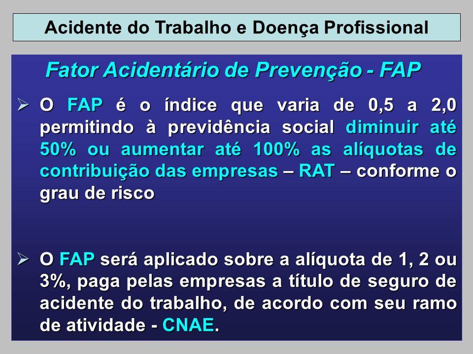 Fator Acidentário de Prevenção - FAP Fator Acidentário de Prevenção - FAP O FAP é o índice que varia de 0,5 a 2,0 permitindo à previdência social dimi