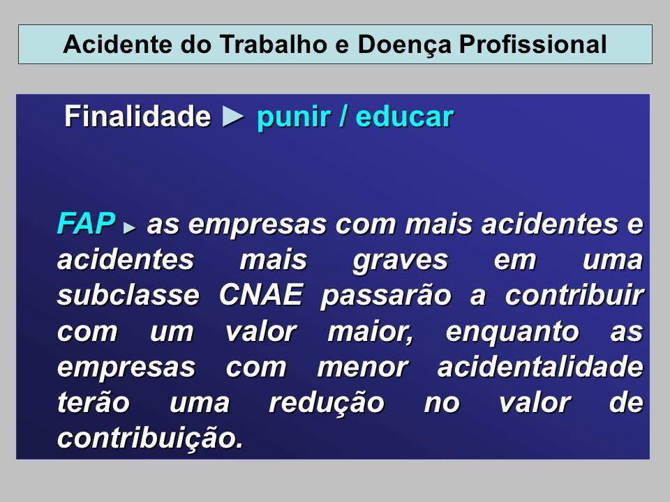 Finalidade punir / educar Finalidade punir / educar FAP as empresas com mais acidentes e acidentes mais graves em uma subclasse CNAE passarão a contri
