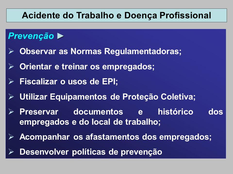 Prevenção Observar as Normas Regulamentadoras; Orientar e treinar os empregados; Fiscalizar o usos de EPI; Utilizar Equipamentos de Proteção Coletiva;
