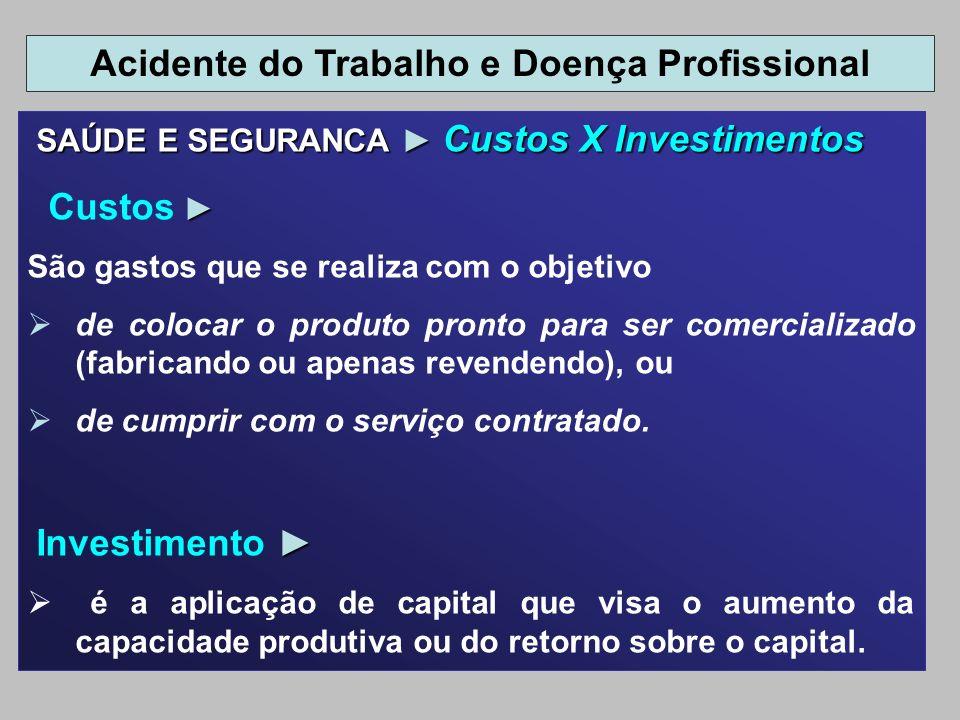 SAÚDE E SEGURANCA Custos X Investimentos SAÚDE E SEGURANCA Custos X Investimentos Custos São gastos que se realiza com o objetivo de colocar o produto