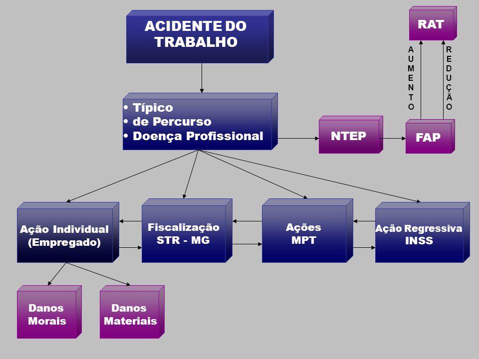 ACIDENTE DO TRABALHO Ação Individual (Empregado) Típico de Percurso Doença Profissional Danos Materiais Danos Morais FAP RAT REDUÇÃOREDUÇÃO AUMENTOAUM
