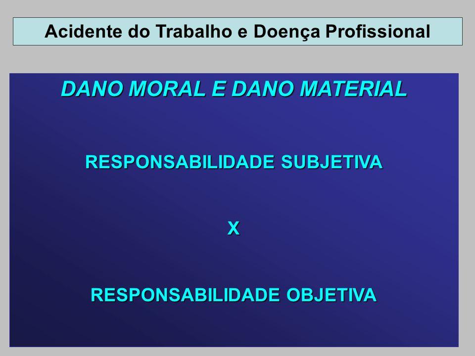 DANO MORAL E DANO MATERIAL RESPONSABILIDADE SUBJETIVA X RESPONSABILIDADE OBJETIVA Acidente do Trabalho e Doença Profissional