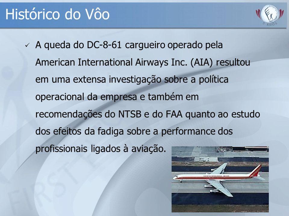 Histórico do Vôo A queda do DC-8-61 cargueiro operado pela American International Airways Inc. (AIA) resultou em uma extensa investigação sobre a polí