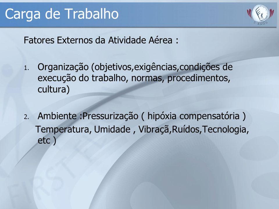 Carga de Trabalho Fatores Externos da Atividade Aérea : 1. Organização (objetivos,exigências,condições de execução do trabalho, normas, procedimentos,
