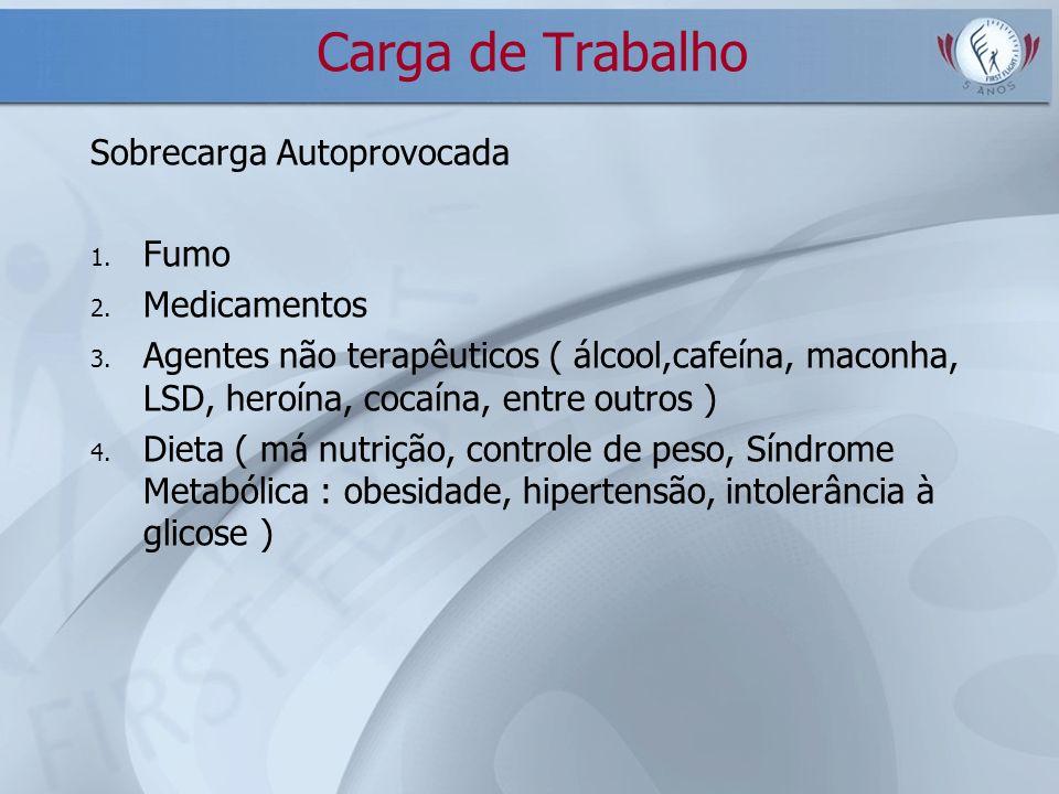 Carga de Trabalho Sobrecarga Autoprovocada 1. Fumo 2. Medicamentos 3. Agentes não terapêuticos ( álcool,cafeína, maconha, LSD, heroína, cocaína, entre