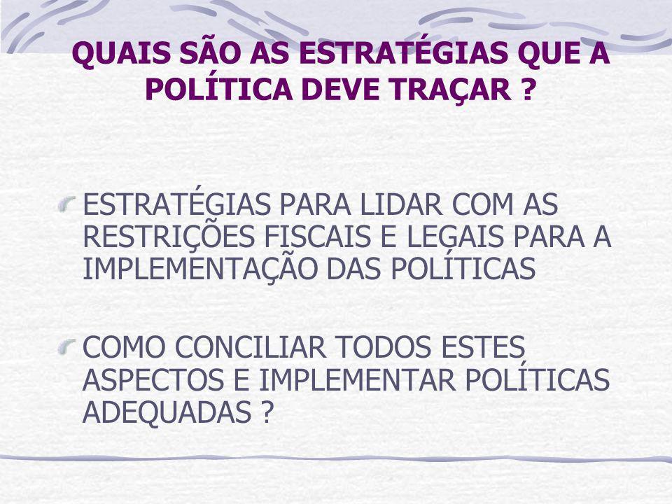 QUAIS SÃO AS ESTRATÉGIAS QUE A POLÍTICA DEVE TRAÇAR .