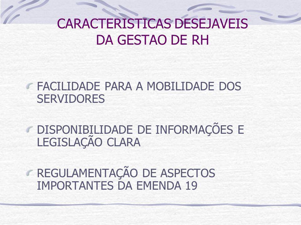 CARACTERISTICAS DESEJAVEIS DA GESTAO DE RH FACILIDADE PARA A MOBILIDADE DOS SERVIDORES DISPONIBILIDADE DE INFORMAÇÕES E LEGISLAÇÃO CLARA REGULAMENTAÇÃO DE ASPECTOS IMPORTANTES DA EMENDA 19