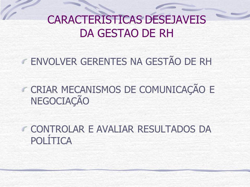 CARACTERISTICAS DESEJAVEIS DA GESTAO DE RH ENVOLVER GERENTES NA GESTÃO DE RH CRIAR MECANISMOS DE COMUNICAÇÃO E NEGOCIAÇÃO CONTROLAR E AVALIAR RESULTADOS DA POLÍTICA