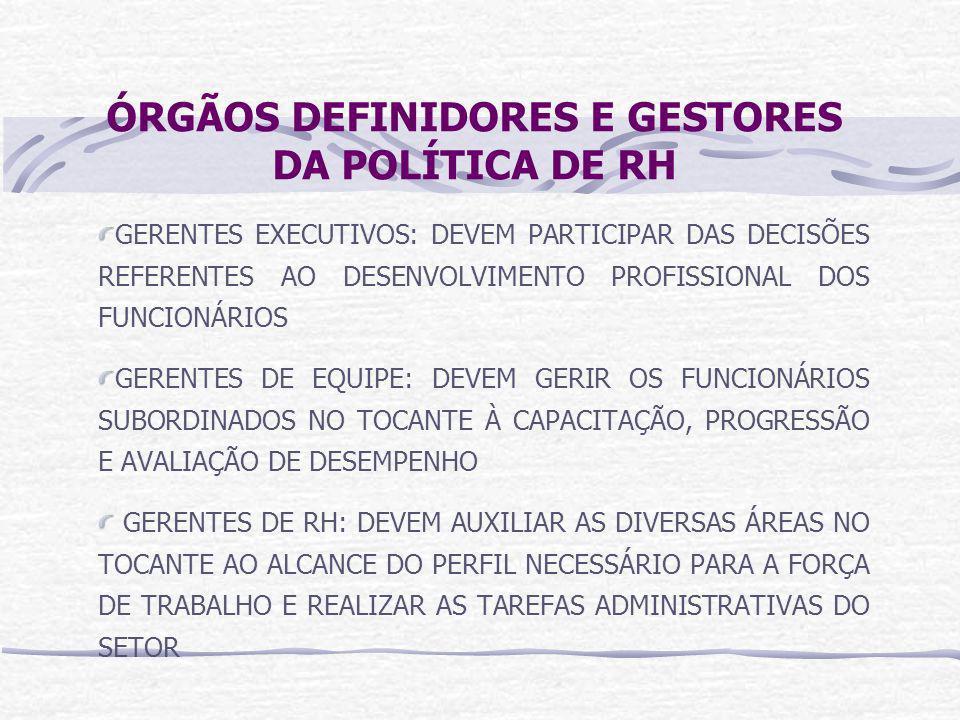 ÓRGÃOS DEFINIDORES E GESTORES DA POLÍTICA DE RH GERENTES EXECUTIVOS: DEVEM PARTICIPAR DAS DECISÕES REFERENTES AO DESENVOLVIMENTO PROFISSIONAL DOS FUNCIONÁRIOS GERENTES DE EQUIPE: DEVEM GERIR OS FUNCIONÁRIOS SUBORDINADOS NO TOCANTE À CAPACITAÇÃO, PROGRESSÃO E AVALIAÇÃO DE DESEMPENHO GERENTES DE RH: DEVEM AUXILIAR AS DIVERSAS ÁREAS NO TOCANTE AO ALCANCE DO PERFIL NECESSÁRIO PARA A FORÇA DE TRABALHO E REALIZAR AS TAREFAS ADMINISTRATIVAS DO SETOR