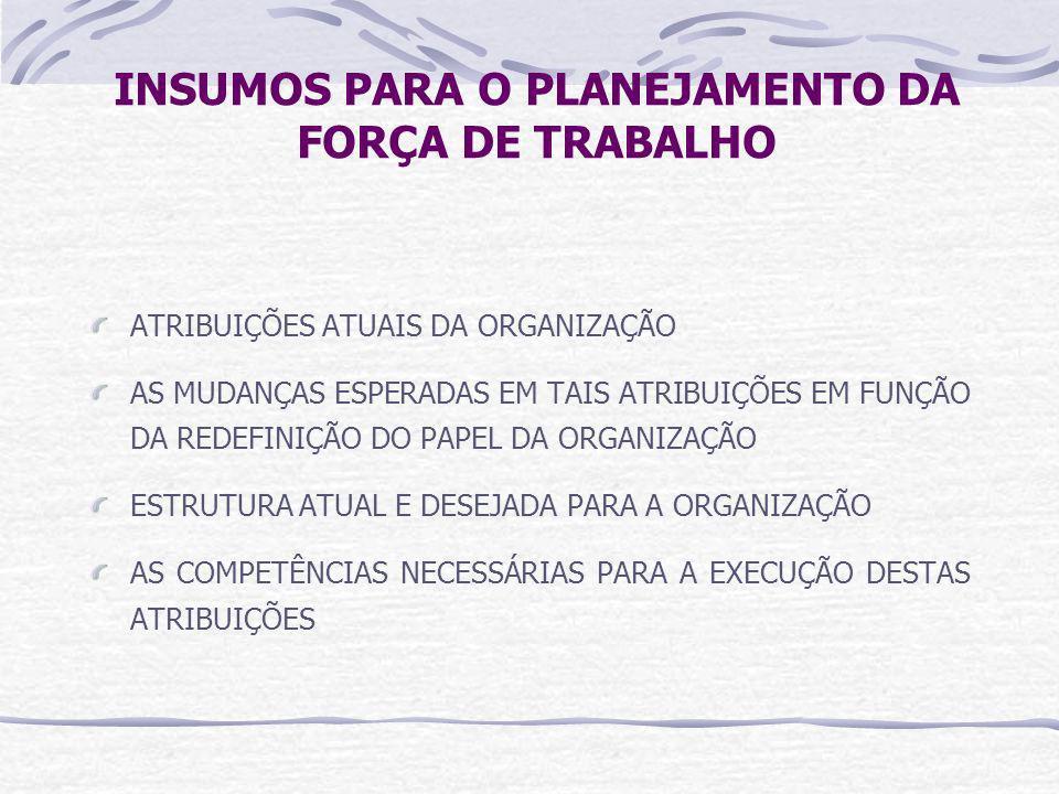 INSUMOS PARA O PLANEJAMENTO DA FORÇA DE TRABALHO ATRIBUIÇÕES ATUAIS DA ORGANIZAÇÃO AS MUDANÇAS ESPERADAS EM TAIS ATRIBUIÇÕES EM FUNÇÃO DA REDEFINIÇÃO DO PAPEL DA ORGANIZAÇÃO ESTRUTURA ATUAL E DESEJADA PARA A ORGANIZAÇÃO AS COMPETÊNCIAS NECESSÁRIAS PARA A EXECUÇÃO DESTAS ATRIBUIÇÕES