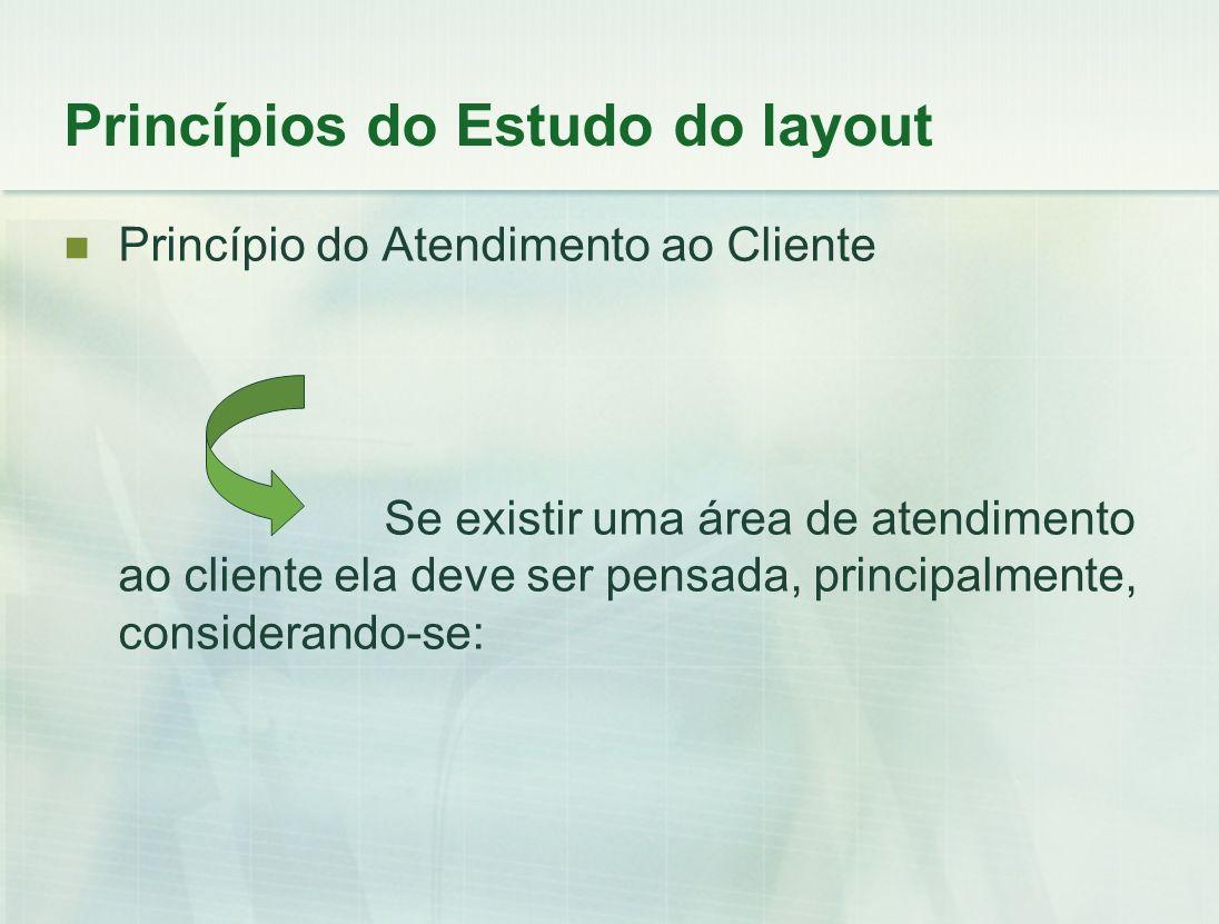 Princípio do Atendimento ao Cliente Se existir uma área de atendimento ao cliente ela deve ser pensada, principalmente, considerando-se: Princípios do