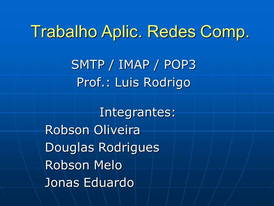 Trabalho Aplic. Redes Comp. SMTP / IMAP / POP3 Prof.: Luis Rodrigo Integrantes: Robson Oliveira Douglas Rodrigues Robson Melo Jonas Eduardo