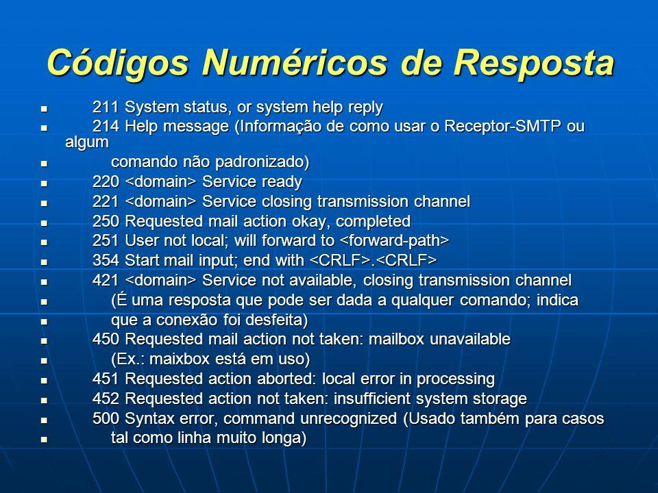 Códigos Numéricos de Resposta 211 System status, or system help reply 211 System status, or system help reply 214 Help message (Informação de como usa