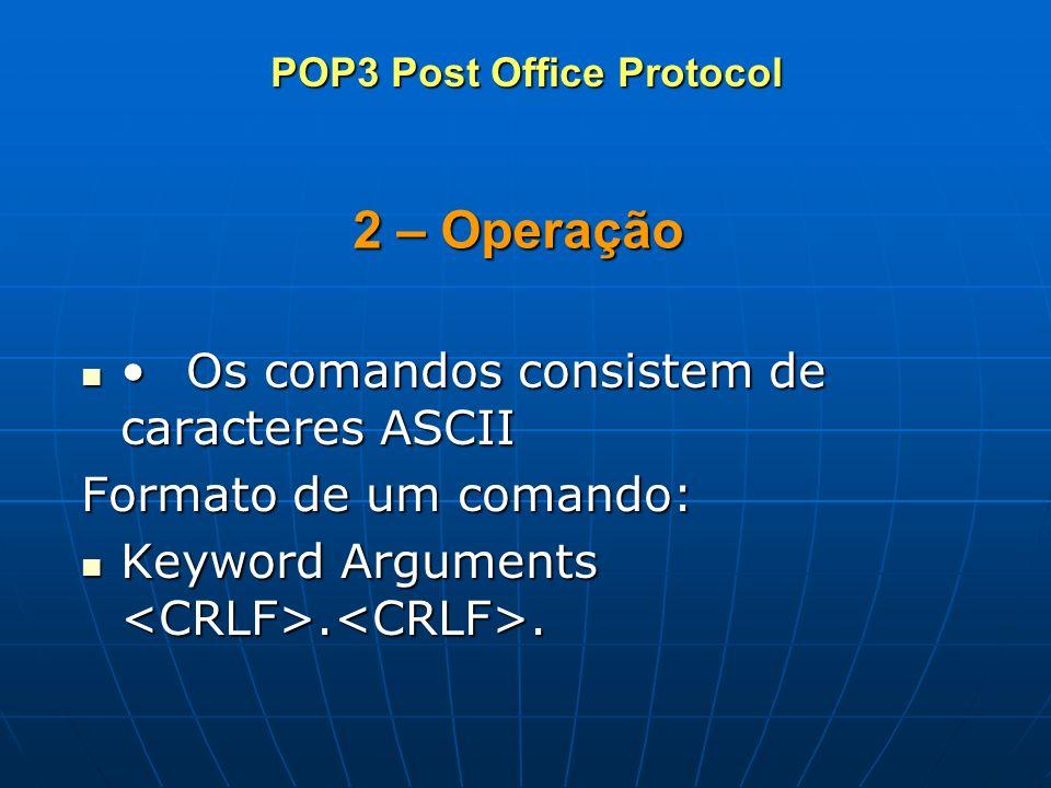 2 – Operação Os comandos consistem de caracteres ASCIIOs comandos consistem de caracteres ASCII Formato de um comando: Keyword Arguments.. Keyword Arg