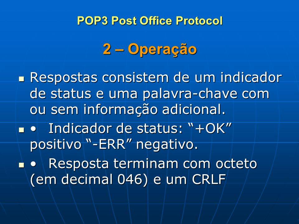 2 – Operação Respostas consistem de um indicador de status e uma palavra-chave com ou sem informação adicional. Respostas consistem de um indicador de