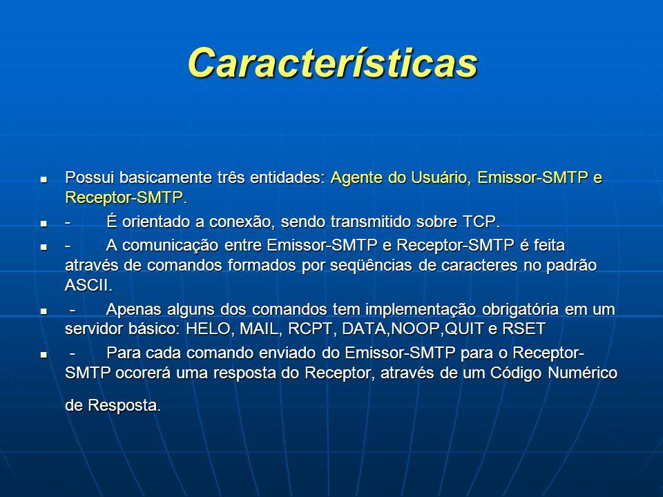 Características Possui basicamente três entidades: Agente do Usuário, Emissor-SMTP e Receptor-SMTP. Possui basicamente três entidades: Agente do Usuár