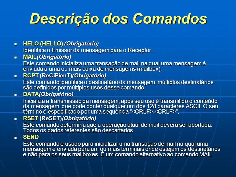 Descrição dos Comandos HELO (HELLO) (Obrigatório) HELO (HELLO) (Obrigatório) Identifica o Emissor da mensagem para o Receptor. MAIL(Obrigatório) MAIL(