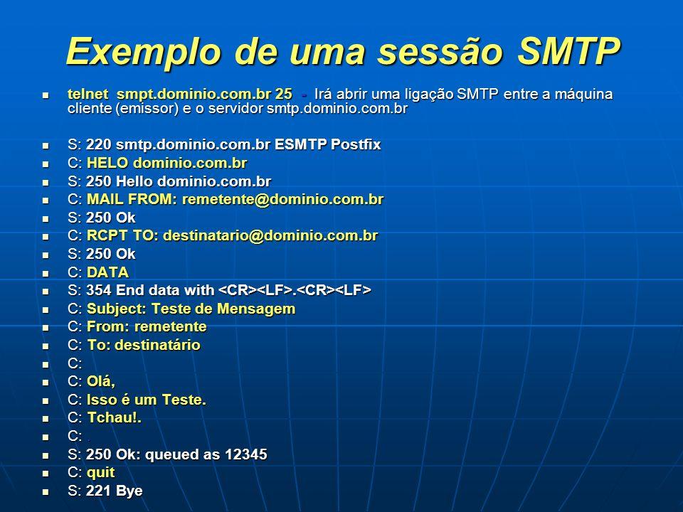 Exemplo de uma sessão SMTP telnet smpt.dominio.com.br 25 - Irá abrir uma ligação SMTP entre a máquina cliente (emissor) e o servidor smtp.dominio.com.