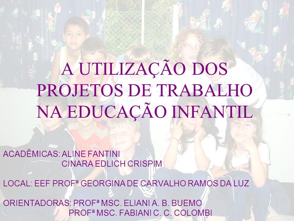 A UTILIZAÇÃO DOS PROJETOS DE TRABALHO NA EDUCAÇÃO INFANTIL ACADÊMICAS: ALINE FANTINI CINARA EDLICH CRISPIM LOCAL: EEF PROFª GEORGINA DE CARVALHO RAMOS