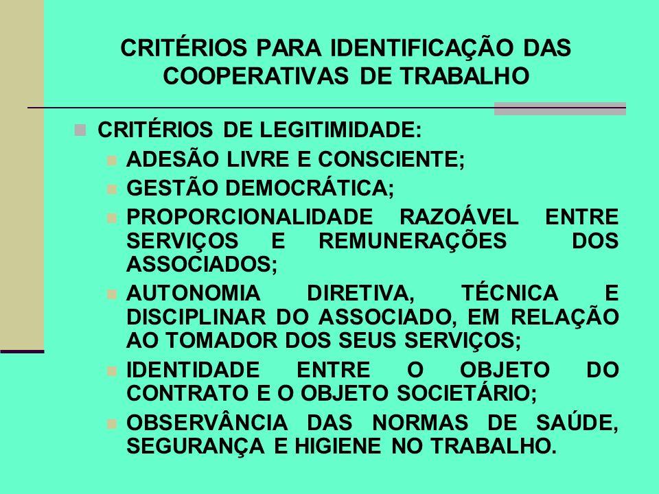 CRITÉRIOS PARA IDENTIFICAÇÃO DAS COOPERATIVAS DE TRABALHO CRITÉRIOS DE LEGITIMIDADE: ADESÃO LIVRE E CONSCIENTE; GESTÃO DEMOCRÁTICA; PROPORCIONALIDADE