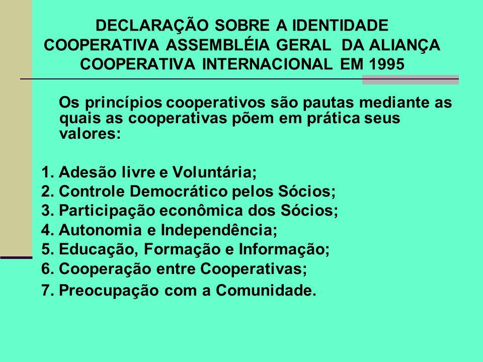 DECLARAÇÃO SOBRE A IDENTIDADE COOPERATIVA ASSEMBLÉIA GERAL DA ALIANÇA COOPERATIVA INTERNACIONAL EM 1995 Os princípios cooperativos são pautas mediante
