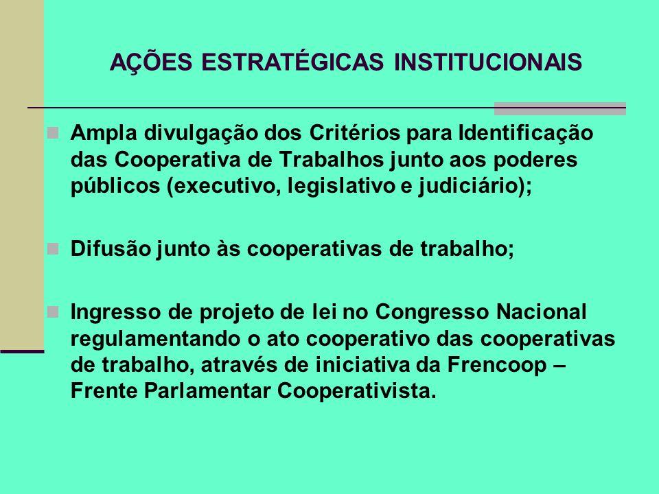 AÇÕES ESTRATÉGICAS INSTITUCIONAIS Ampla divulgação dos Critérios para Identificação das Cooperativa de Trabalhos junto aos poderes públicos (executivo