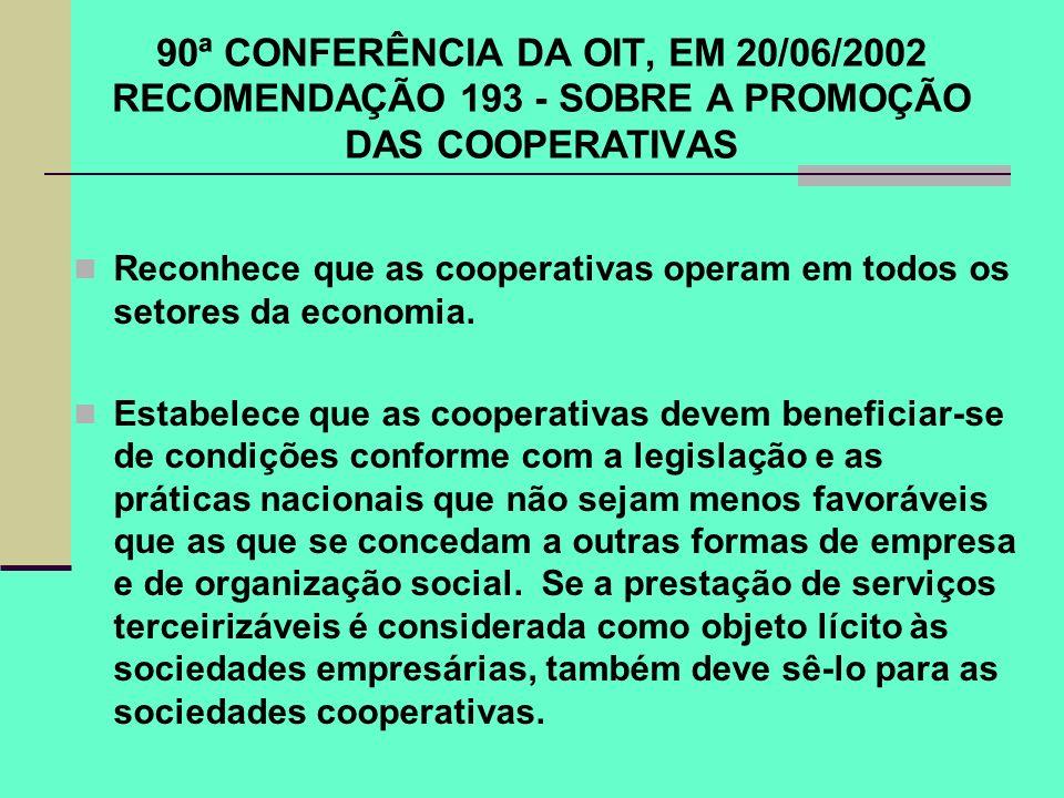 90ª CONFERÊNCIA DA OIT, EM 20/06/2002 RECOMENDAÇÃO 193 - SOBRE A PROMOÇÃO DAS COOPERATIVAS Reconhece que as cooperativas operam em todos os setores da