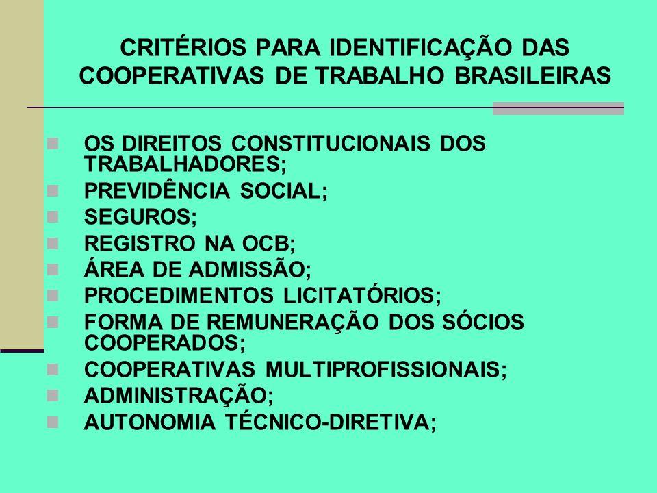 CRITÉRIOS PARA IDENTIFICAÇÃO DAS COOPERATIVAS DE TRABALHO BRASILEIRAS OS DIREITOS CONSTITUCIONAIS DOS TRABALHADORES; PREVIDÊNCIA SOCIAL; SEGUROS; REGI