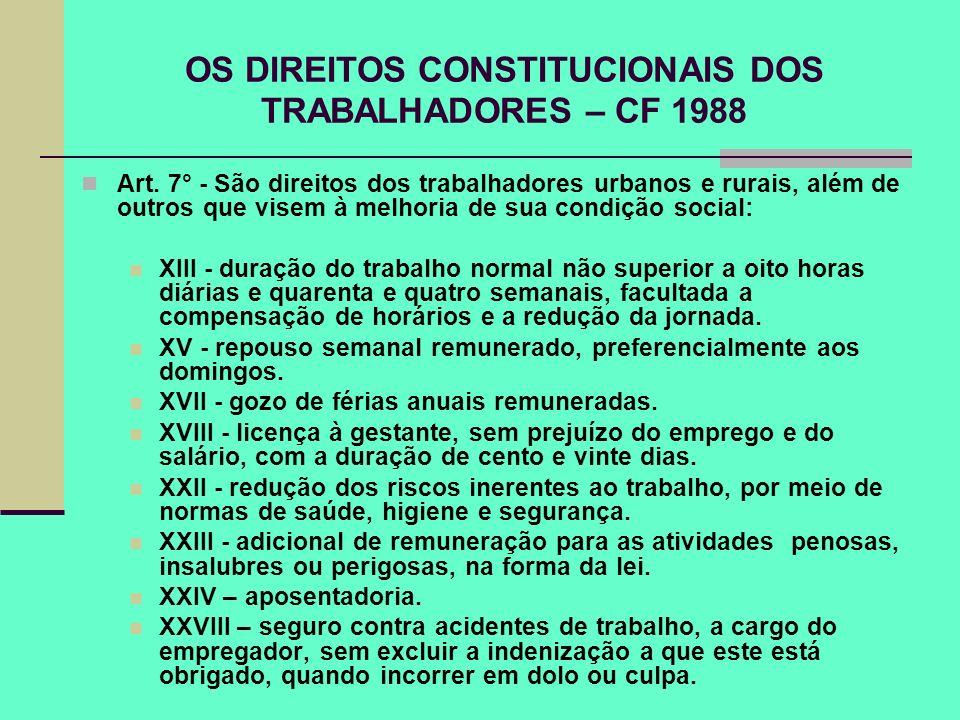 OS DIREITOS CONSTITUCIONAIS DOS TRABALHADORES – CF 1988 Art. 7° - São direitos dos trabalhadores urbanos e rurais, além de outros que visem à melhoria