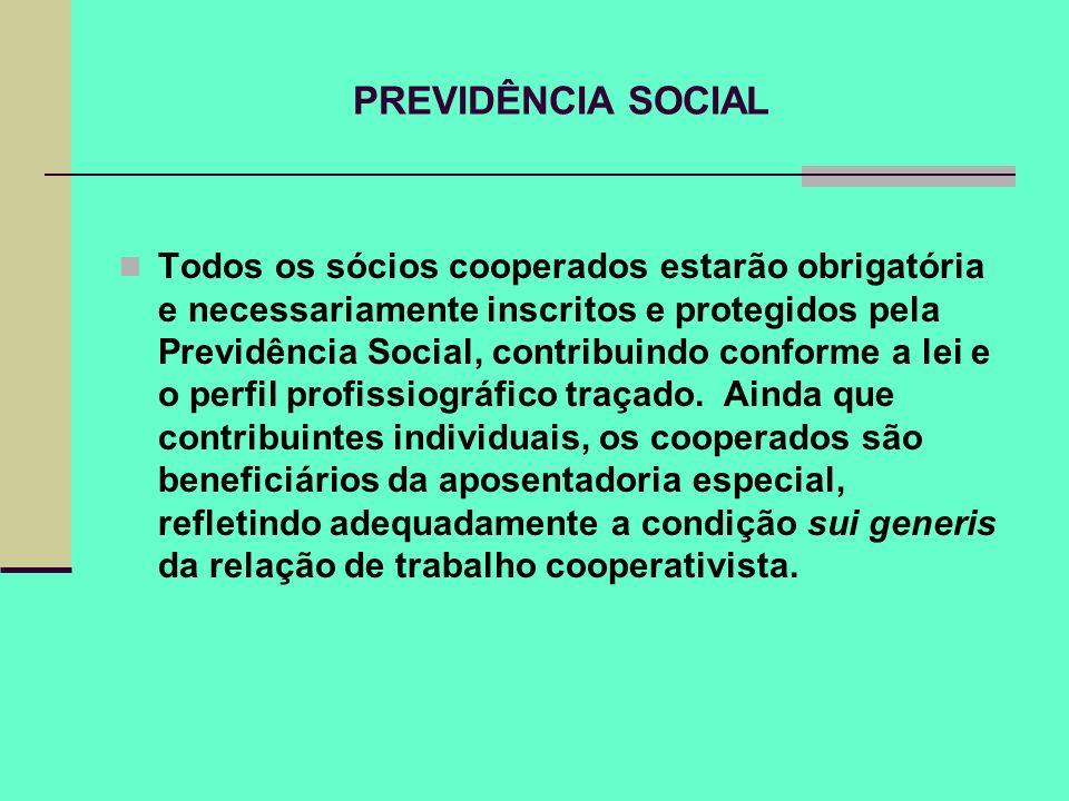 PREVIDÊNCIA SOCIAL Todos os sócios cooperados estarão obrigatória e necessariamente inscritos e protegidos pela Previdência Social, contribuindo confo