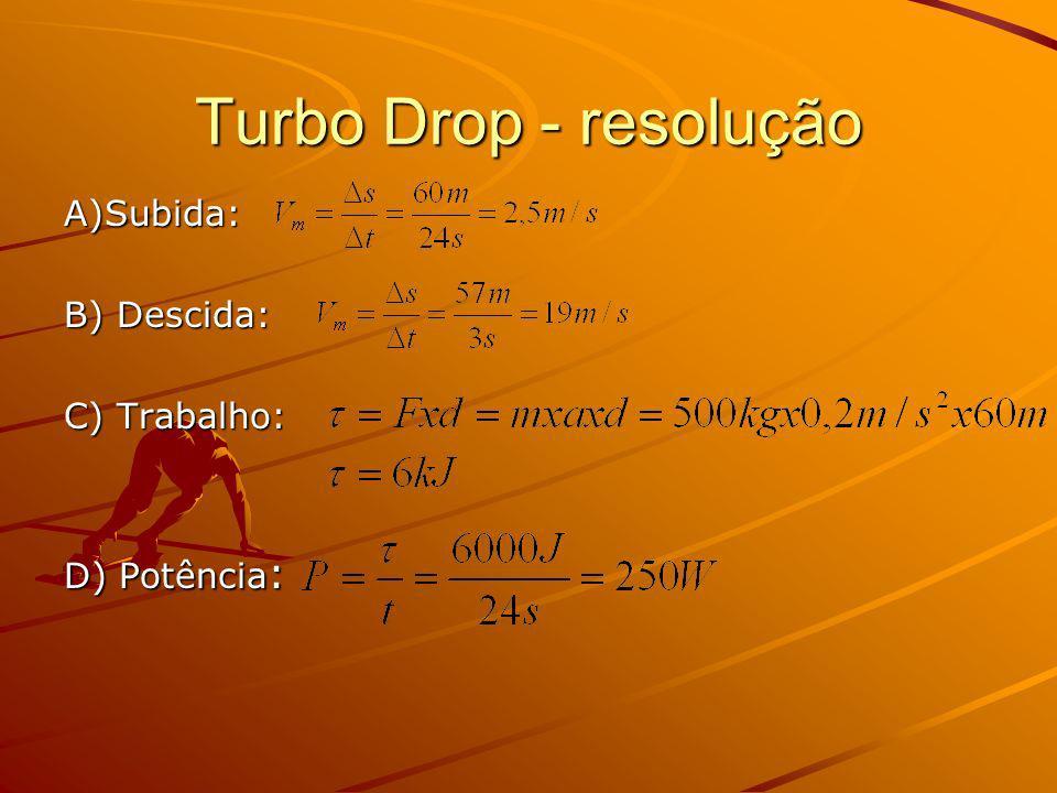 Aplicação do Teorema de Conservação da Energia Mecânica Em1 = Energia na altura máxima Em2 = Energia após a descida Em1 = Em2 M x g x h = ½ x m x v max 2 V max 2 = 2 x 9,8m/s 2 x 20 m V max = 19,8 m/s